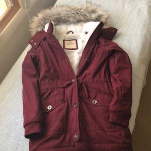 Hollister faux fur lined burgundy parka size S